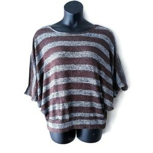 Cleo Gray & Brown Stripe Batwing Plus Size Top 1X